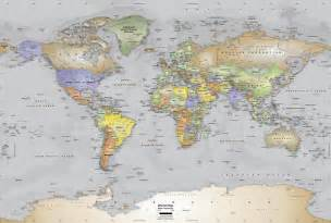 gray oceans world political map wall mural miller projection world map wallpaper murals wallpaper