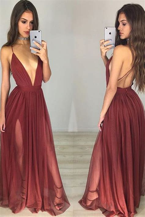 Wine tulle sexy deep V neck A line simple long evening