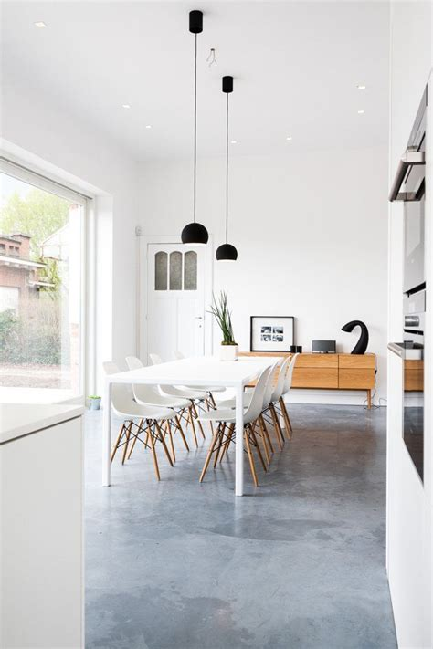 kitchen dining area with polished concrete floor in 2018