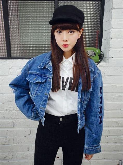 Fashion Korea Anting Drop Blue 1 korean style back letters print denim jacket