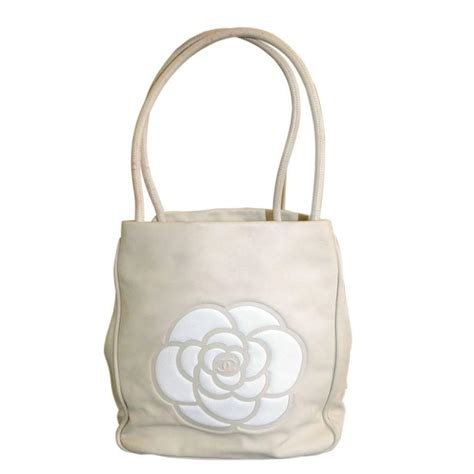 Flowery Tote Bag chanel and white lambskin camillia flower logo tote bag for sale at 1stdibs