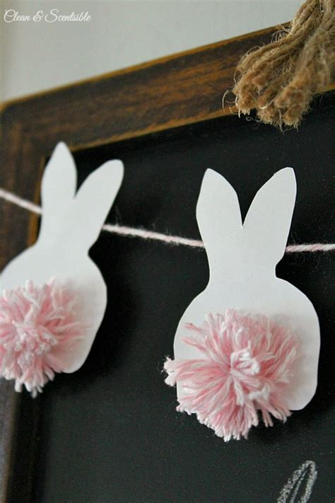 How To Make Easter Decorations Out Of Paper - easter bunting with pom pom bunnies clean and scentsible