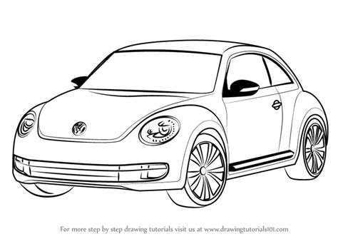 volkswagen bug drawing learn how to draw volkswagen beetle cars by