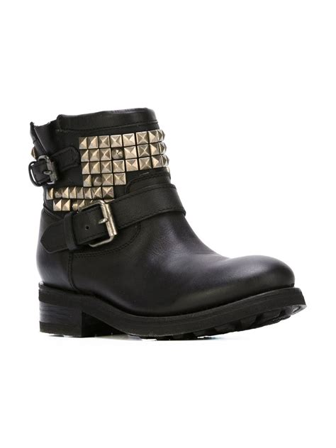 ash studded buckle boots in black lyst