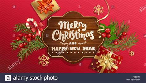 merry christmas   year wishing banner  wooden frame  red background  traditional