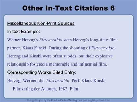 film mla in text citation the owl mla formatting power point
