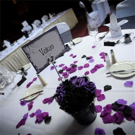 wedding table decorations purple and black black and purple reception decor louise adam s real