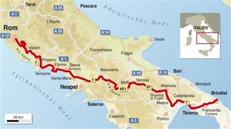 Motorrad Online Karte by Italien Spezial Via Appia Info Karte Tourenfahrer Online
