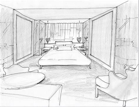 sketch room modrian hotel room interior sketch trendland