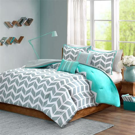 blue chevron comforter grey and white chevron bedding lzk gallery