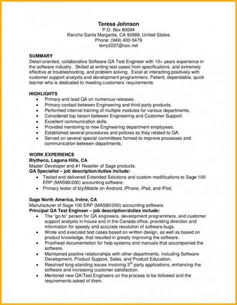 sle resume for software qa engineer phlebotomy resume sle template business