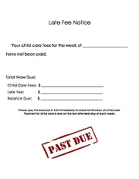 Late Payment Notice Printable For Child Care Childcare by Printable Daycare Forms Late Fee Notice