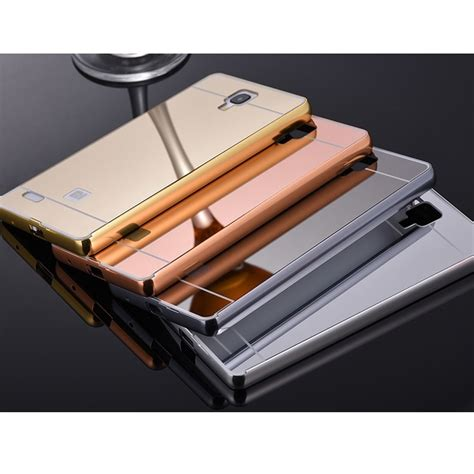 Bumper Mirror Xiomi Note 2 aluminium bumper with mirror back cover for xiaomi redmi note golden jakartanotebook