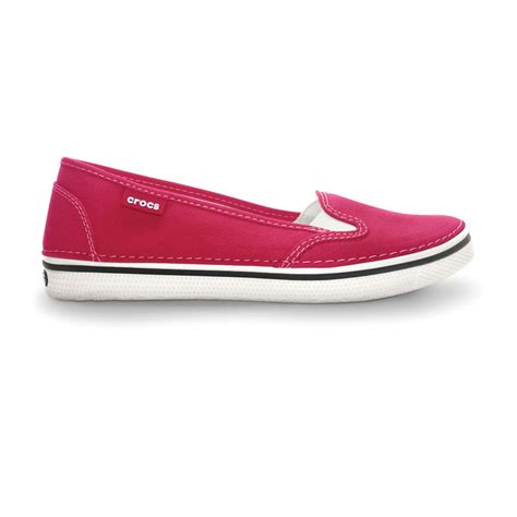 croc style shoes for crocs womens hover slip on raspberry light weight canvas
