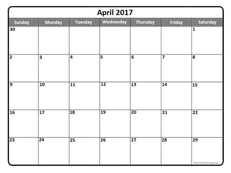 Calendar For Free April 2017 Calendar Printable Templates Webelations