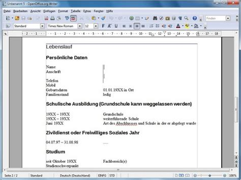 Lebenslauf Muster 2015 Open Office Openoffice Lebenslauf Vorlage Lebenslauf