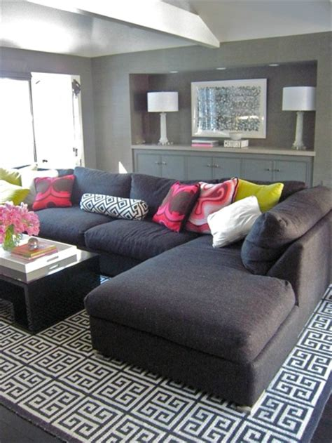 Living Room With Gray Sofa Gray Sectional Sofa Contemporary Living Room Zoldan Interiors