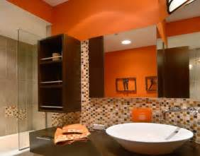modern house orange bathroom in modern designs