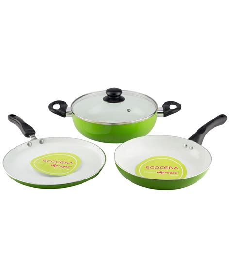 ceramic induction cookware review ecocera ceramic cookware set of 3 induction friendly buy at best price in india