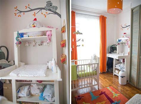 coin bebe dans chambre des parents chambre de b 233 b 233 blanche orange et verte coin change