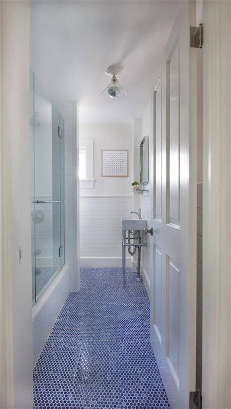 Blue Glass Shower Surround   Contemporary   bathroom