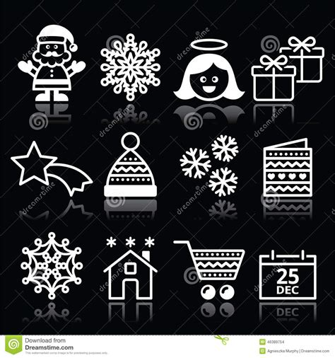 christmas xmas celebrate white icons set  black stock