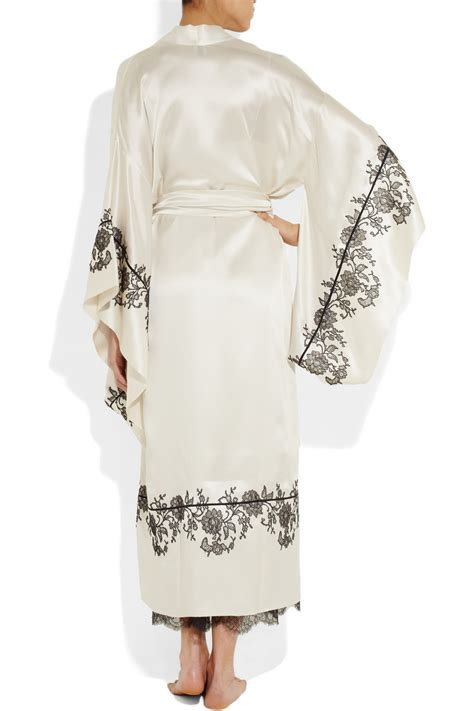 kimono robe silk carine gilson lace appliqu 233 d silk satin kimono robe in