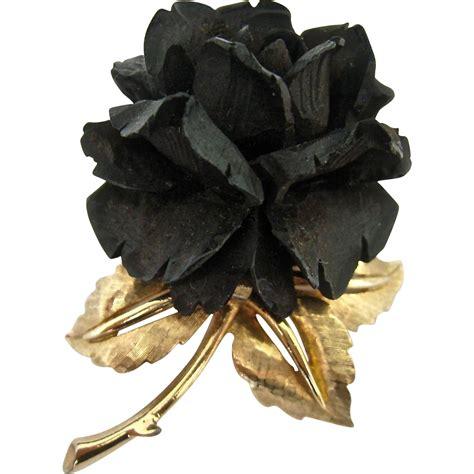 black flower boucher black flower rose pin brooch signed numbered