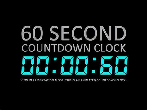 60 Second Digital Countdown Clock Presentation By Powerpoint Countdown Timer Template