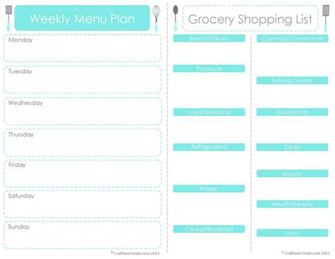 craft sew create free printable menu plan shopping list