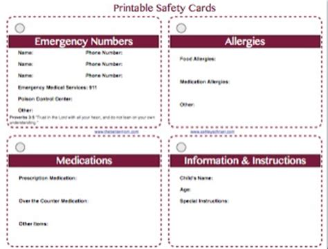 free emergency contact card template free printable safety cards for your children the better