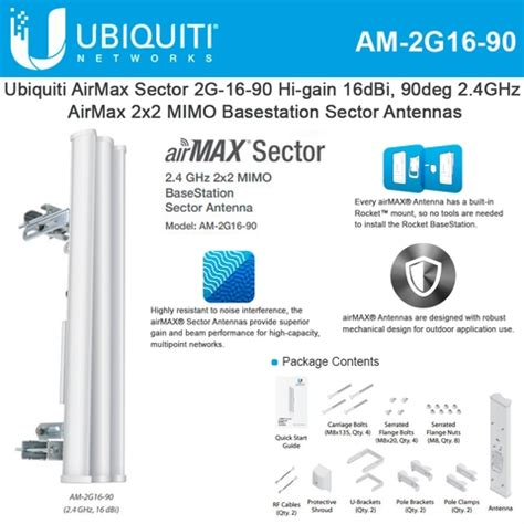 Ubiquiti Sector Antena 2g16 ubiquiti am 2g16 90 2 4ghz airmax sector antenna hi gain