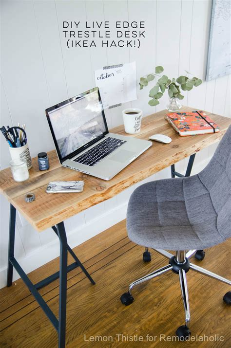 diy kitchen table ikea legs remodelaholic ikea hack easy diy live edge desk with