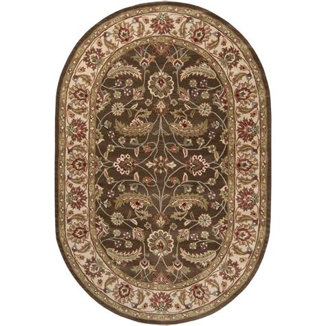 oval rugs artistic weavers brown 8 ft x 10 ft oval area rug jhn 1003 the home depot