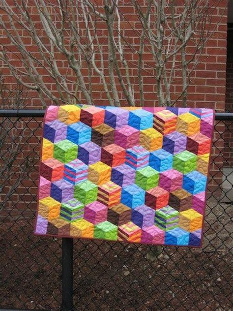 Tumbling Blocks Patchwork - tumbling blocks handmade patchwork baby quilt