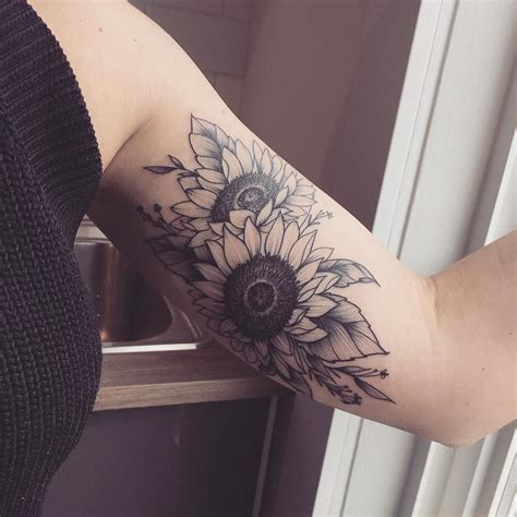 sunflower arm tattoo sunflower