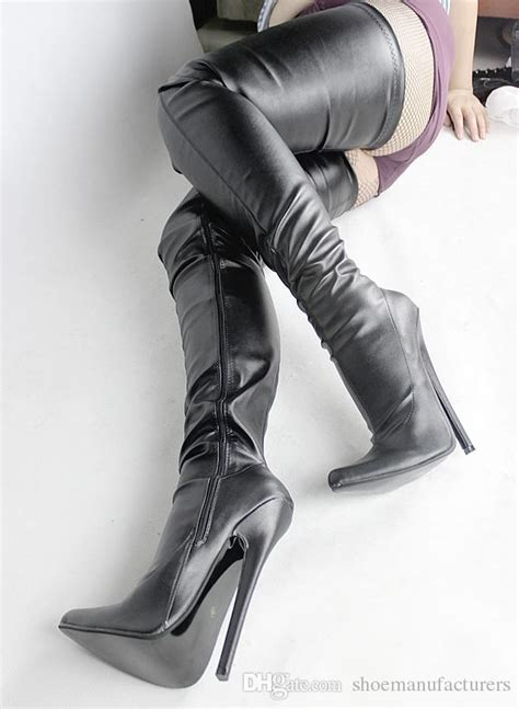 Lobo Glossy White Pointed Toe High Heels Import sale pointed toes 18cm spike high heel thigh high to buttocks for black patent pu