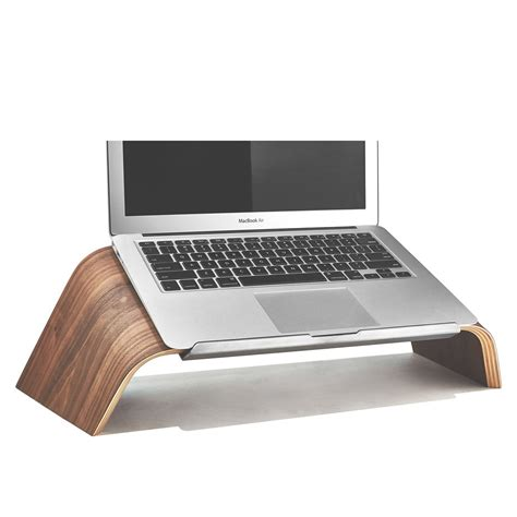 Laptop Holder For Desk Wood Laptop Stand Walnut Platform Laptop Holder