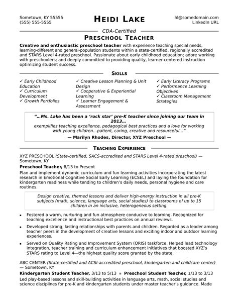 teaching skills resume preschool resume sle
