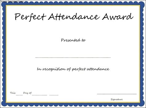 perfect attendance award certificate template sle