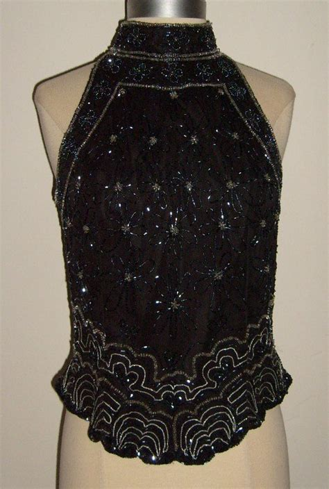 Top Batiquee Collection Size M papell boutique evening beaded silk halter top size m