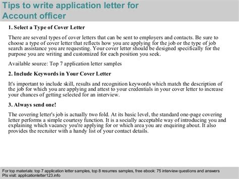 cover letter for account officer account officer application letter