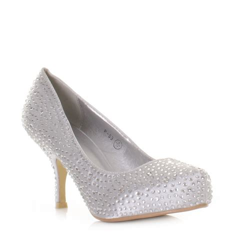 womens low kitten heel diamante satin wedding