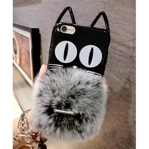 For Iphone 6 6s With Stand Ring Soft Berkualitas kitten ears rabbit fur finger ring stand soft