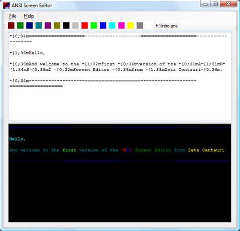 ansi screen editor software