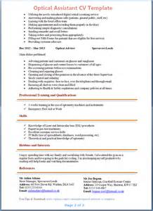 Optician Assistant Cover Letter by Optical Assistant Cv Exle 2