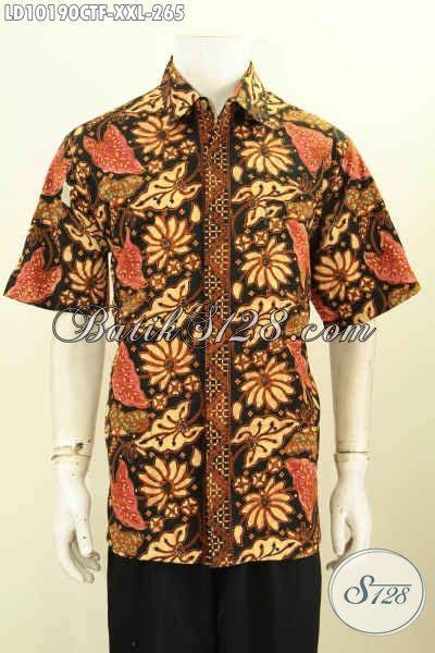 Gamis Batik Cap Jumbo model baju batik elegan untuk pria gemuk lengan pendek