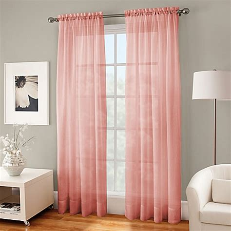 coral curtain sheers crushed voile sheer rod pocket window curtain panel bed