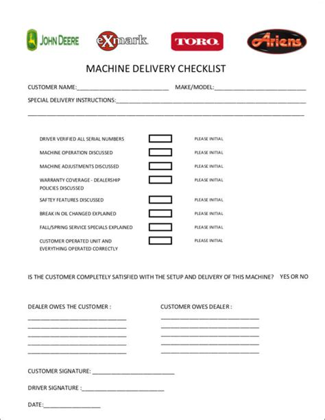17 delivery checklist sles free word pdf format