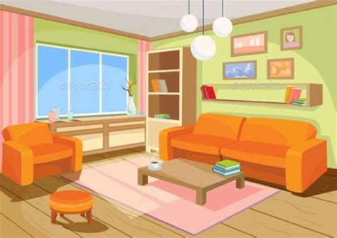 living room cartoon vector illustration of a cozy cartoon interior by vectorpocket graphicriver